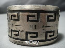 Important Vintage Hopi Lou Jasytewa Sterling Silver Maze Bracelet Old