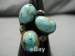 Important Vintage Navajo Dry Creek Turquoise Sterling Silver Ring Old
