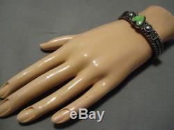 Important Vintage Navajo Heart Gaspeite Sterling Silver Bracelet Old Cuff