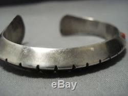 Important Vintage Navajo Kenneth Peshlakai Sterling Silver Coral Bracelet