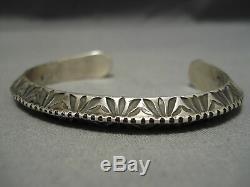 Incredible Vintage Navajo Detailed Sterling Silver Hand Tooled Bracelet