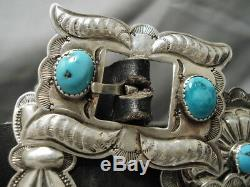 Incredible Vintage Navajo Hand Wrought Sterling Silver Turquoise Concho Belt