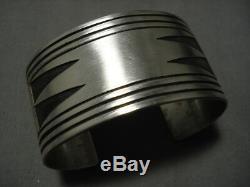 Incredible Vintage Navajo Native American Sterling Silver Bracelet Old Cuff