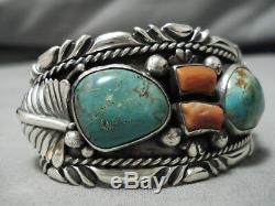 Incredible Vintage Navajo Royston Turquoise Coral Sterling Silver Bracelet Old