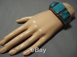 Incredible Vintage Navajo Sterling Silver Native American Turquoise Bracelet Old