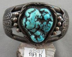 Indian Jewelry Vintage HEAVY Navajo Turquoise and Sterling Bracelet, Spiderweb