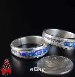 Inlay sky Opal Wedding band Set vintage old Navajo jewelry sz 7 sterling. 925