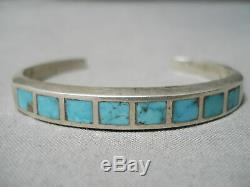Intricate! Vintage Zuni Navajo Turquoise Inlay Sterling Silver Bracelet Old