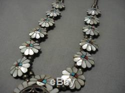 Intricate! Vintage Zuni Turquoise Coral Sterling Silver Squash Blossom Necklace