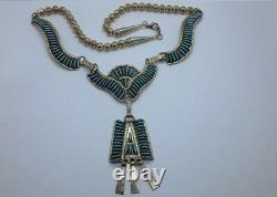 JY Jimmy Yazzie STERLING NAVAJO PETIT POINT TURQUOISE SQUASH BLOSSOM NECKLACE
