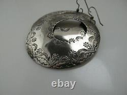 J Joan Slifka Large Handmade Drop Hoop Earrings Sterling Silver Southwest