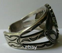 John Gordon Leak Weighty Vintage Zuni Silver Inlay Knifewing Cuff Bracelet