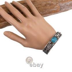 KINGMAN Turquoise Bracelet Sterling Silver HAPPY PIASSO Navajo Black Spiderweb