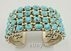 Kingman Turquoise Cluster Sterling Silver Cuff Bracelet Navajo Size 7