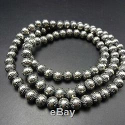LONG Vintage NAVAJO Stamped Sterling Silver NAVAJO PEARLS 30 Strand NECKLACE