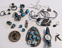 LOT Native American sterling turquoise jewelry Pendant ring ER Navajo Zuni vtg