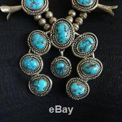 LOVELY Vintage NAVAJO Sterling Silver MORENCI Turquoise SQUASH BLOSSOM Necklace