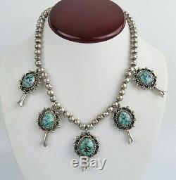 L B Begay spiderweb turquoise sterling silver VTG Navajo squash blossom necklace