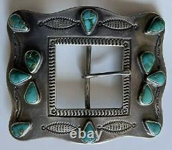 Large 1930's Vintage Beauty Navajo Indian Silver Turquoise Belt Buckle