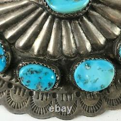 Large Handsome Vintage Navajo Indian Stamped Silver & Turquoise Concho Pin