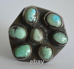 Large Navajo Hand Wrought Antique Turquoise Sterling Silver Old Pawn Ring