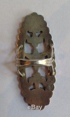 Large Vintage Dishta Zuni Indian Silver Inlaid Turquoise Ring Size 7