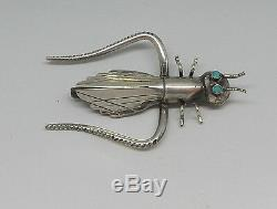 Large Vintage Handmade Native American Silver Inlaid Turquoise Insect Bug Pin B