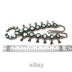 Large Vintage Navajo Handmade Sterling Turquoise Squash Blossom Necklace AJB
