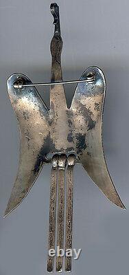 Large Vintage Navajo Indian Silver Dangle Tail Dimensional Peyote Water Bird Pin