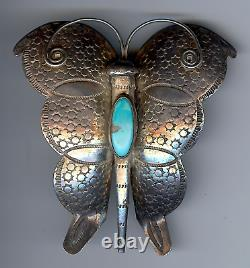 Large Vintage Navajo Indian Silver Turquoise Butterfly Pin