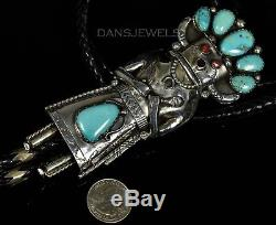 Large Vintage Old Pawn Navajo TURQUOISE KACHINA Sterling Silver BOLO TIE