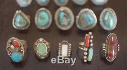 Lot 15 Native American Navajo/Zuni Vintage Sterling Silver Rings Turquoise Coral