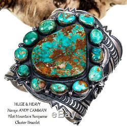 MASSIVE Navajo Bracelet Pilot Mt Turquoise Sterling Silver ANDY CADMAN Old Pawn