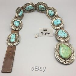 MASSIVE! Vintage Turquoise & Sterling Silver, (Navajo) Concho Belt Leo Yazzie