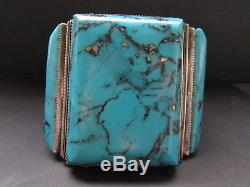 Magnificent Huge & Heavy Vtg Sterling Morenci Turquoise Cuff Bracelet-189 Grams
