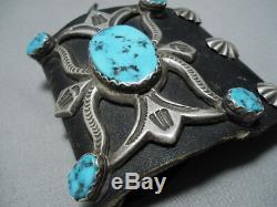 Magnificent Vintage Navajo Morenci Turquoise Sterling Silver Ketoh Bracelet Old