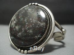 Magnificent Vintage Navajo Spiderweb Turquoise Sterling Silver Bracelet