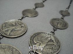 Magnificent Vintage Navajo Sterling Silver Squash Blossom Necklace Old