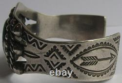 Maisels Vintage Navajo Indian Sterling Stamped Arrows Turquoise Cuff Bracelet