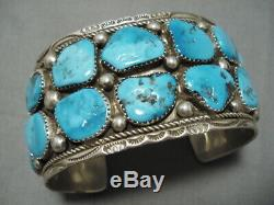 Marie Thompson Vintage Navajo Sterling Silver Deepset Turquoise Bracelet
