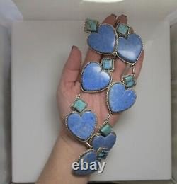 Massive Lapis Turquoise Heart Sterling Silver Necklace Heavy Vintage