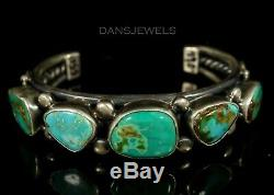 Mens Navajo Vintage OLD PAWN Traditional VERDY JAKE Turquoise ROW Bracelet