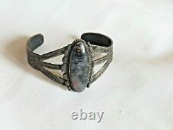 Moss Agate Sterling Silver Native American Bracelet Jewelry Vintage