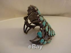 Museum Quality Vintage NAVAJO Sterling Silver & Cluster TURQUOISE Cuff BRACELET