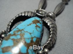 Museum Quality Vintage Navajo Bisbee Turquoise Sterling Silver Necklace Old