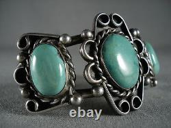 Museum Vintage Navajo'soft Green' Turquoise Silver Siwl Bracelet Old Jewelry