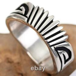 NATIVE AMERICAN Ring Sterling Silver NELSON BEGAY Rising Sun Overlay 9.75