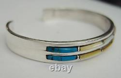 NAVAJO Sterling Silver Turquoise MOP CUFF BRACELET 2 ROWS PICTORIAL MAKER'S MARK