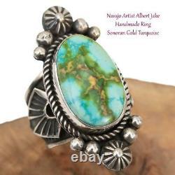 NAVAJO TURQUOISE RING Sterling Silver SONORAN GOLD ALBERT JAKE 7 8 9 Adjustable