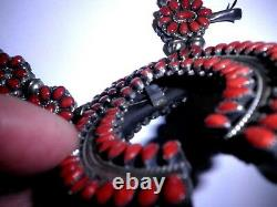 NICE Victor Mosses BeGay Squash Blossom Naja Necklace Reversible Coral/Turquoise